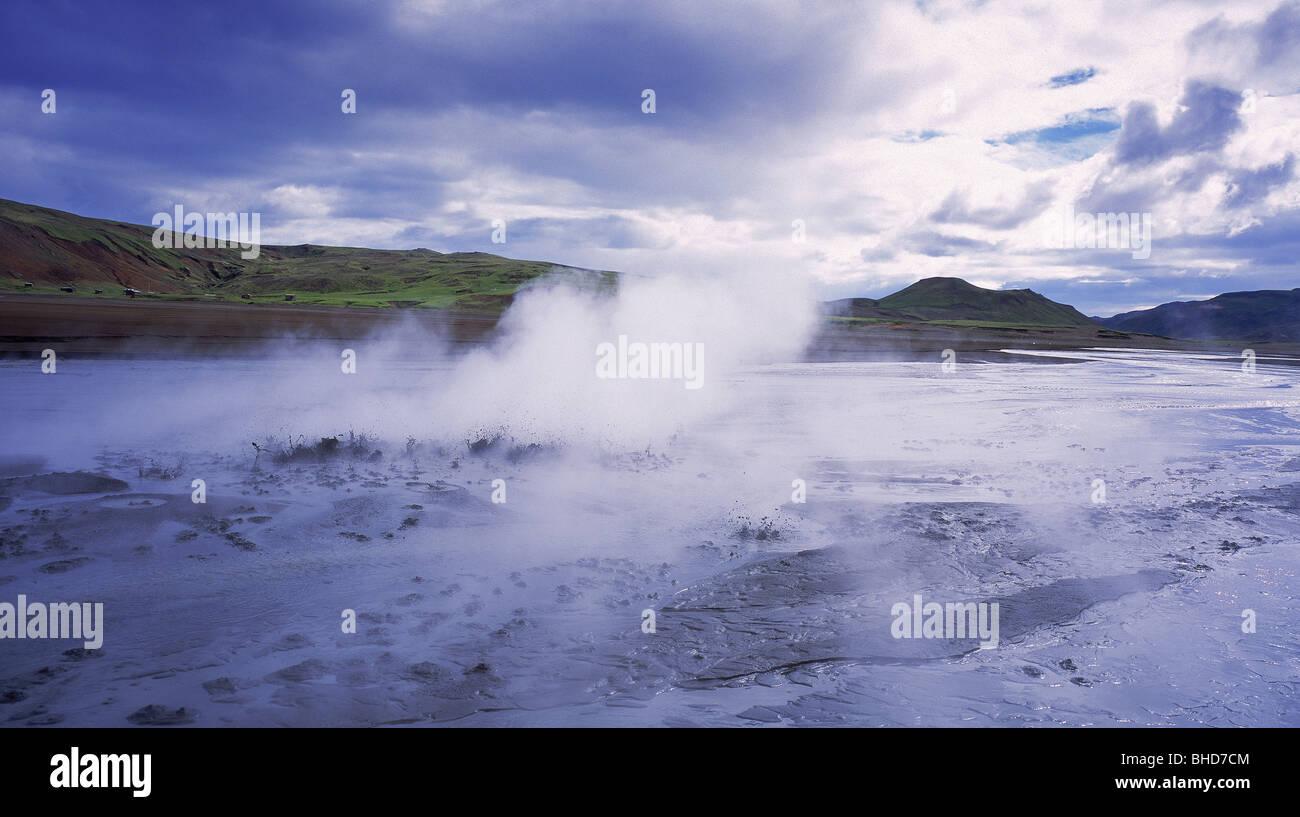 Boiling mud pots, Krisuvik, Lake Kleifarvatn, Iceland - Stock Image