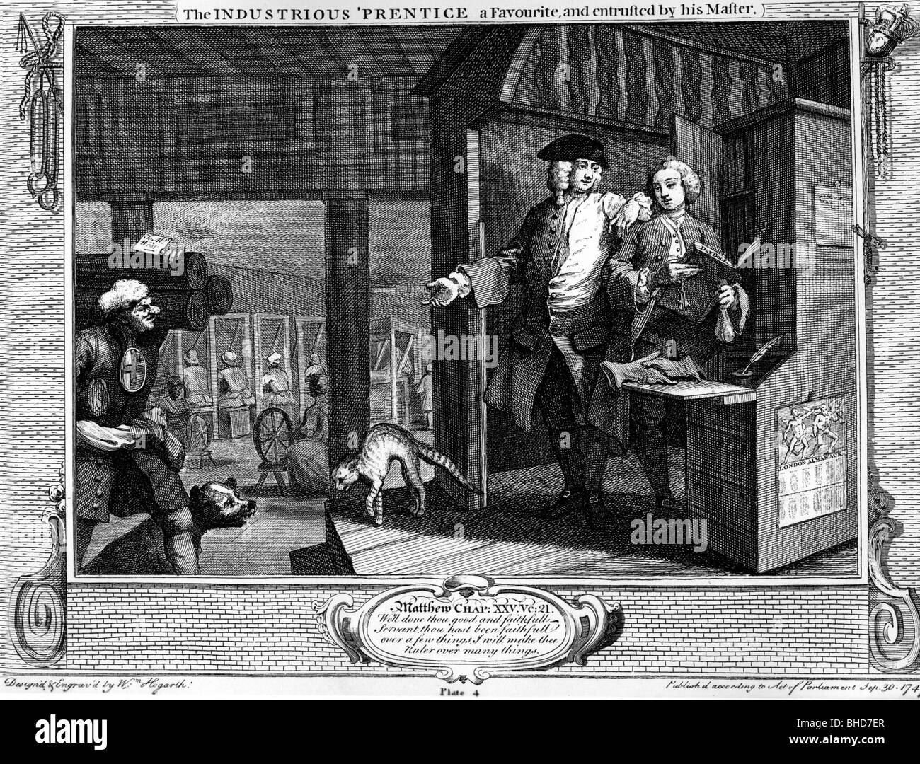 fine arts, Hogarth, William (10.11.1697 - 25.10.1764), 'The Industrious Prentice, a Favourite, and entrusted - Stock Image