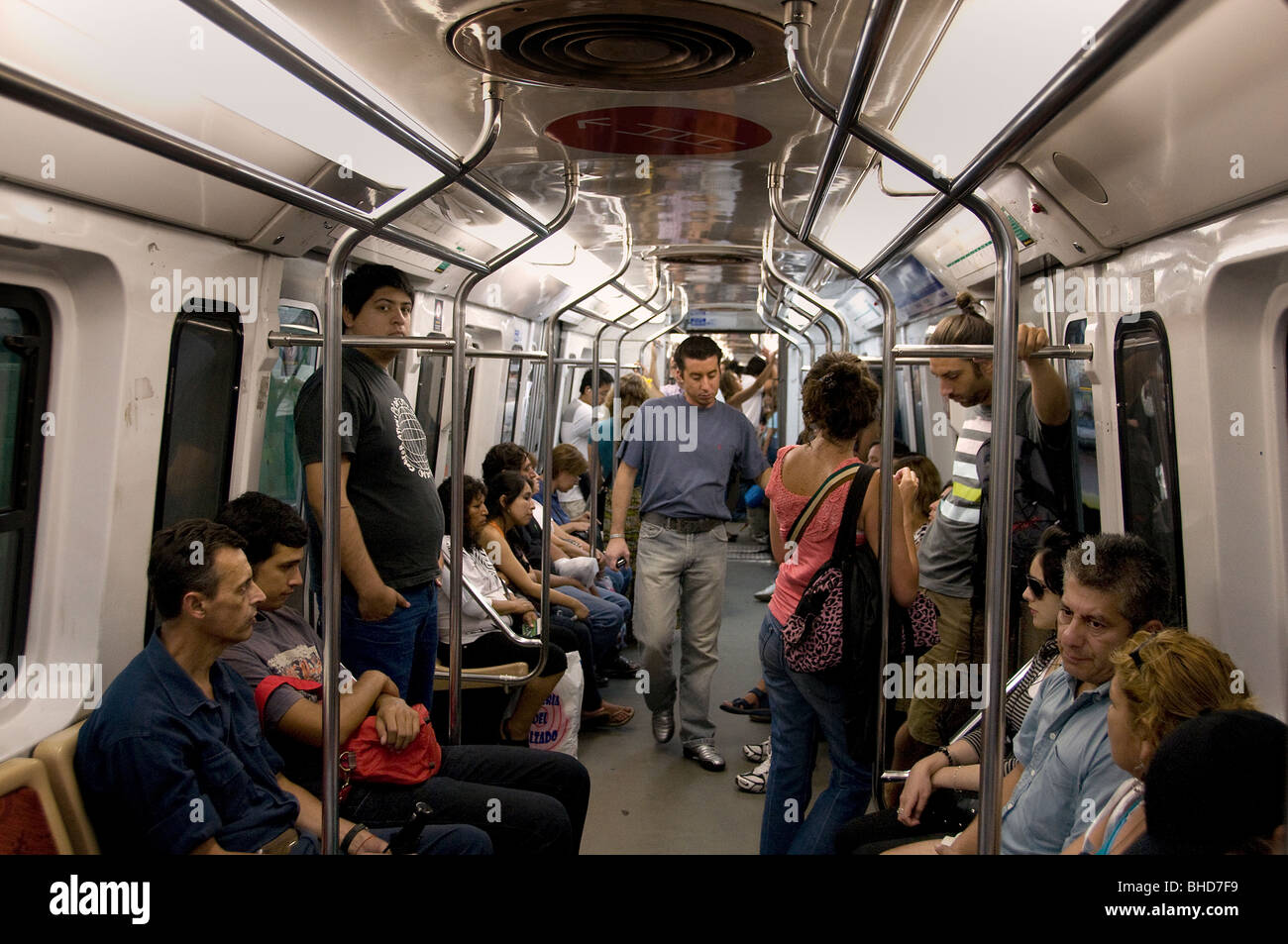 Buenos Aires underground tube subway train Argentina Town City - Stock Image
