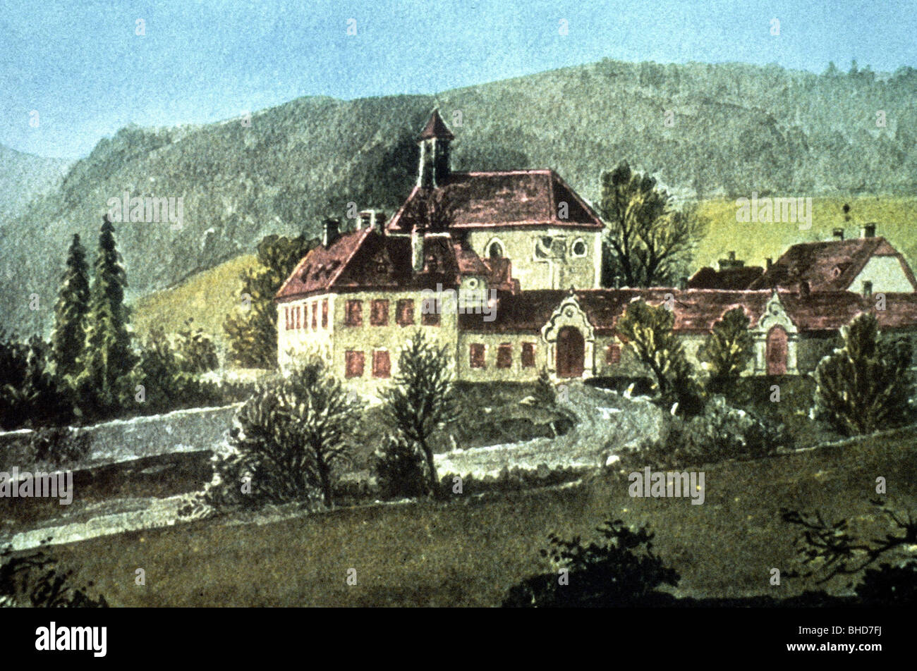 geography / travel, Austria, castles, hunting lodge Mayerling, Lower Austria, painting, circa 1890, 19th century, - Stock Image