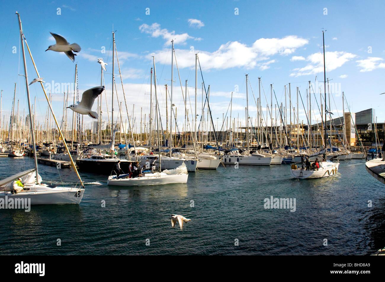 Boats in Port Vell, Barcelona, Spain - Stock Image