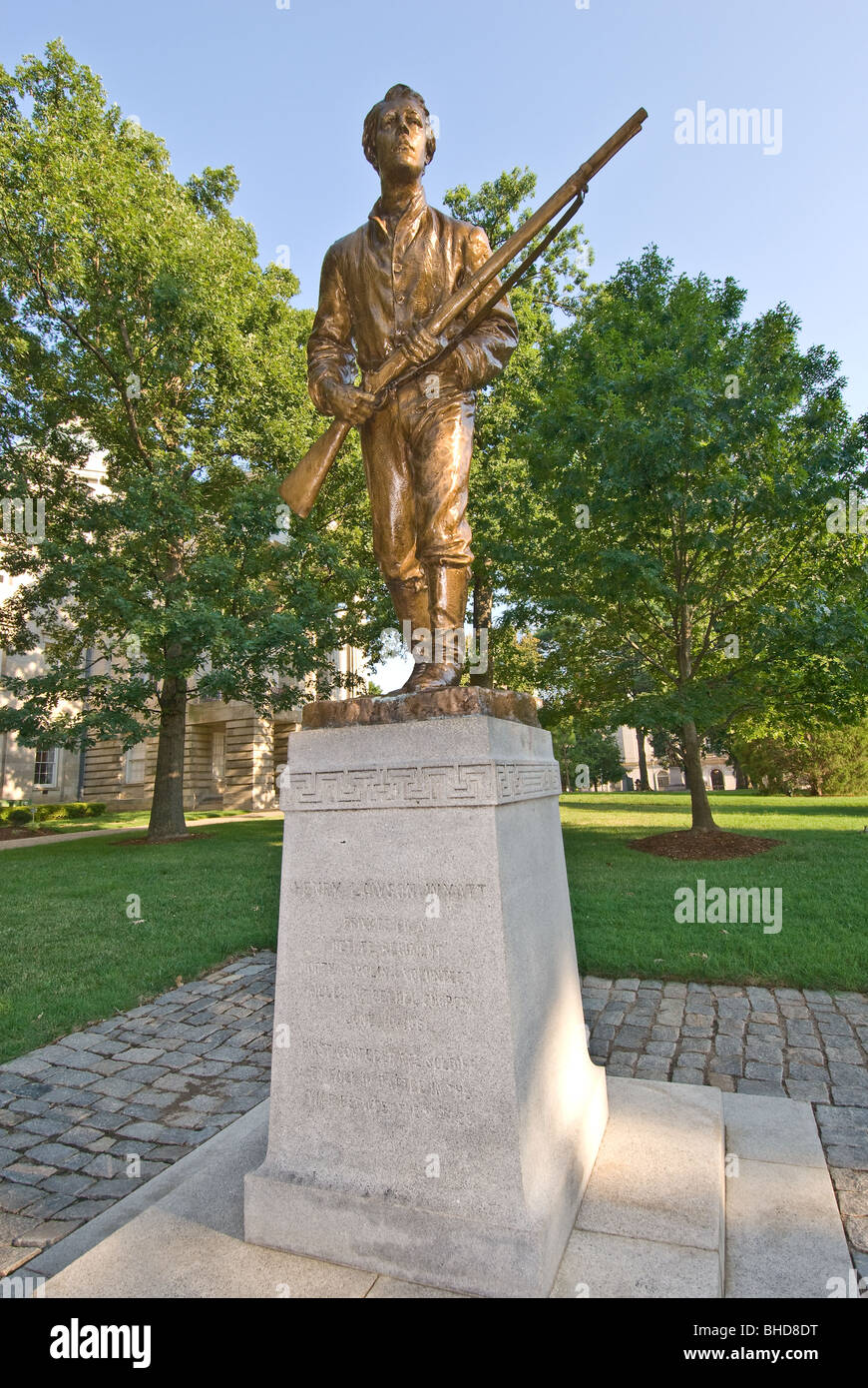 Memorial of Henry Lawson Wyatt, statue on grounds of State Capitol, Raleigh, North Carolina - Stock Image