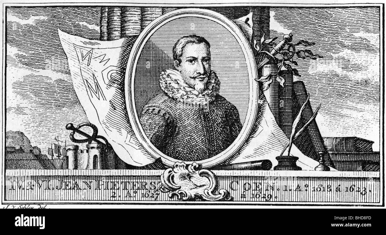 Coen, Jan Pieterzoon, 8.1.1587 - 21.9.1629, Dutch statesman, officer of Dutch East India Company, portrait, after - Stock Image