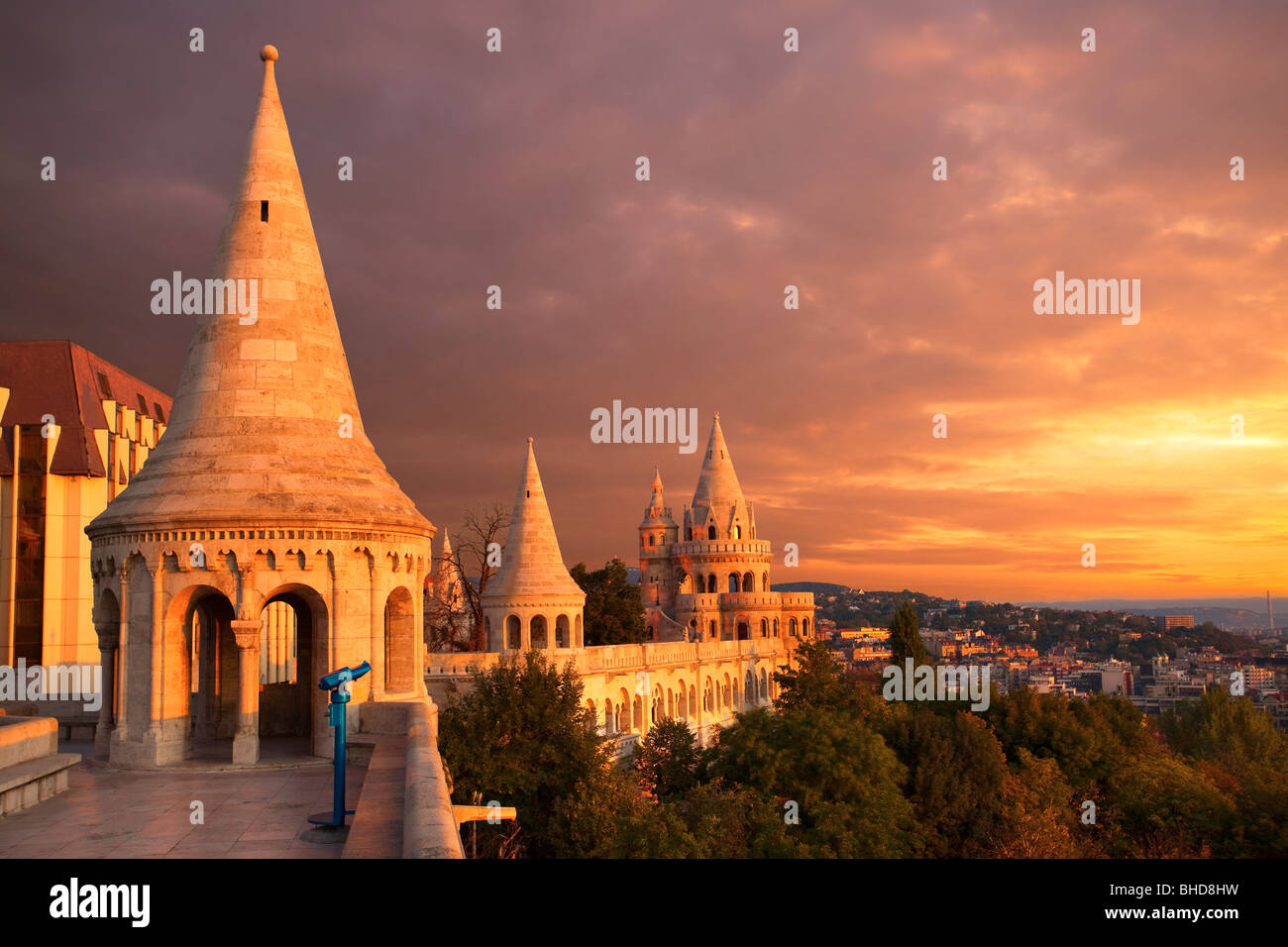 Sunset over Fisherman's bastion in Buda Castle in Budapest Stock Photo