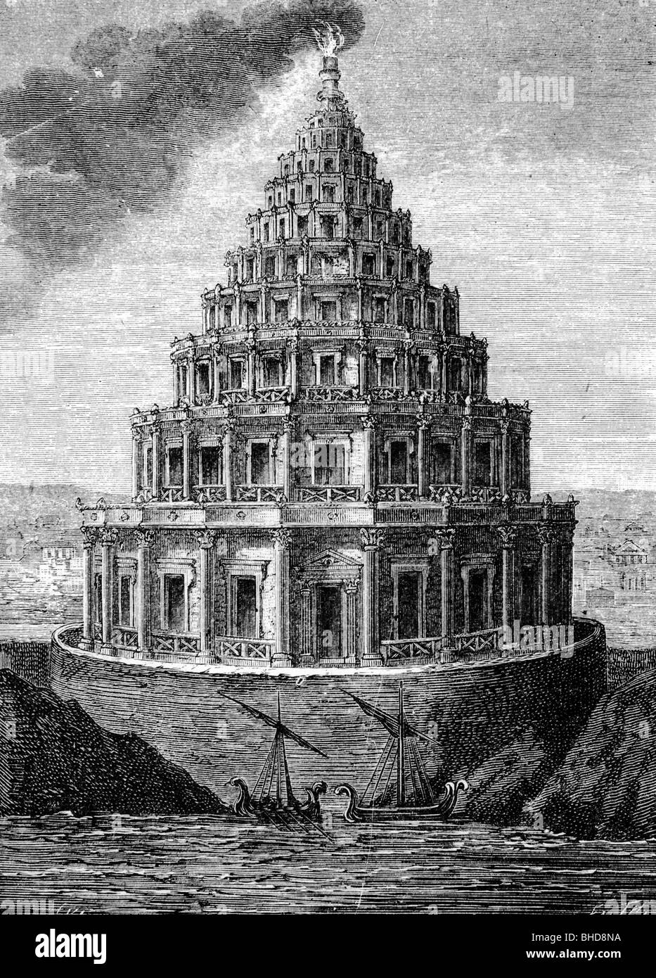 Ancient World Seven Wonders Of The Lighthouse Alexandria After Copper Engraviong By Martin De Vos Late 16th Century Wood Engraving