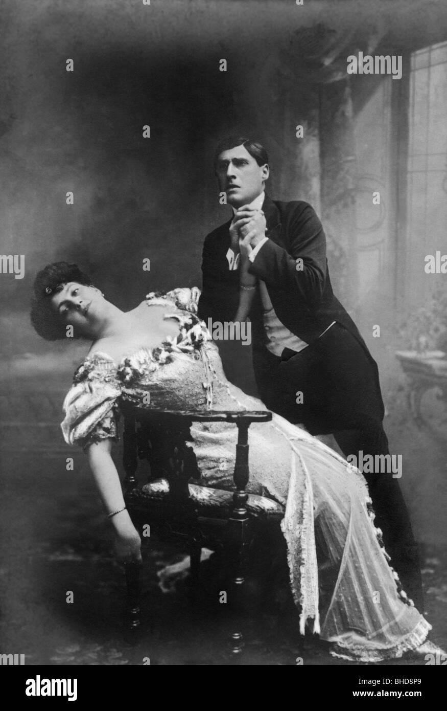 theatre / theater, actor, Phila Wolff, Louis Treumann, Theater an der Wien, Vienna, circa 1906, Additional-Rights - Stock Image