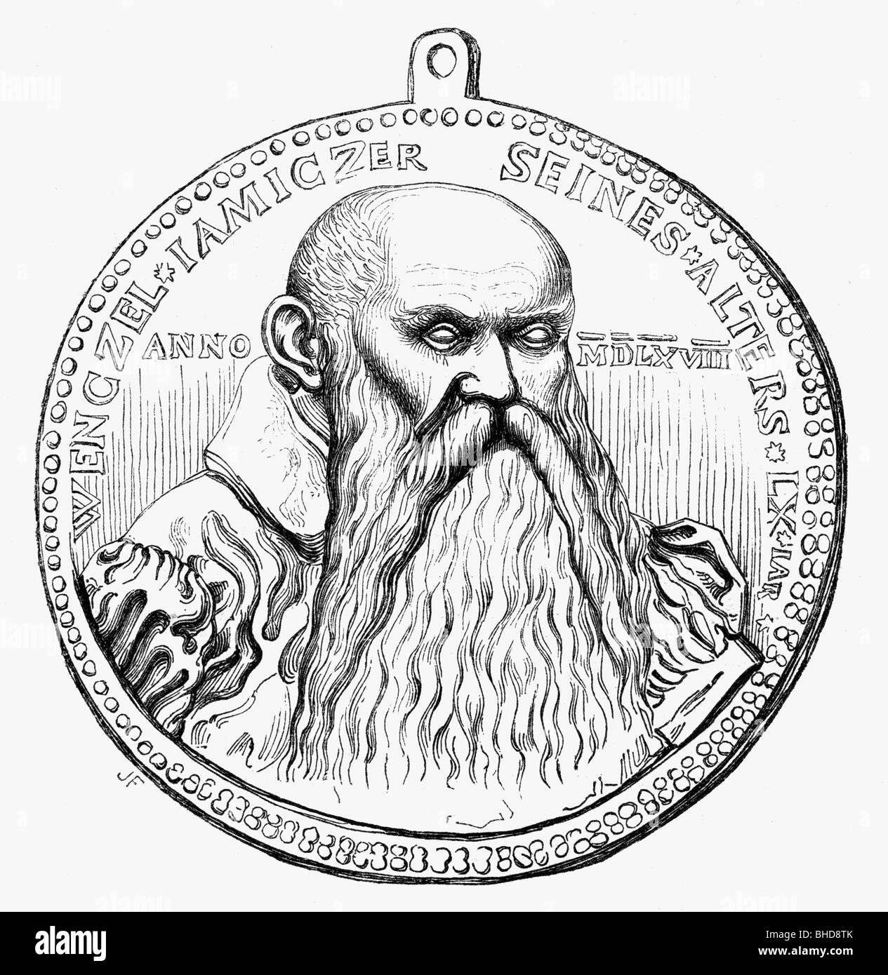 Jamitzer, Wenzel (Jamnitzer), 1508 - 19.12.1585, German printmaker, goldsmith, mathematician, portrait, wood engraving - Stock Image