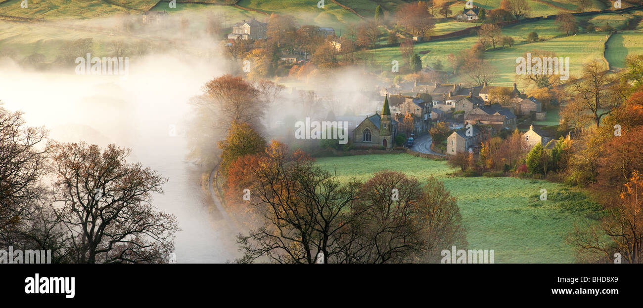 Elevated view over villge of Burnsall - Stock Image