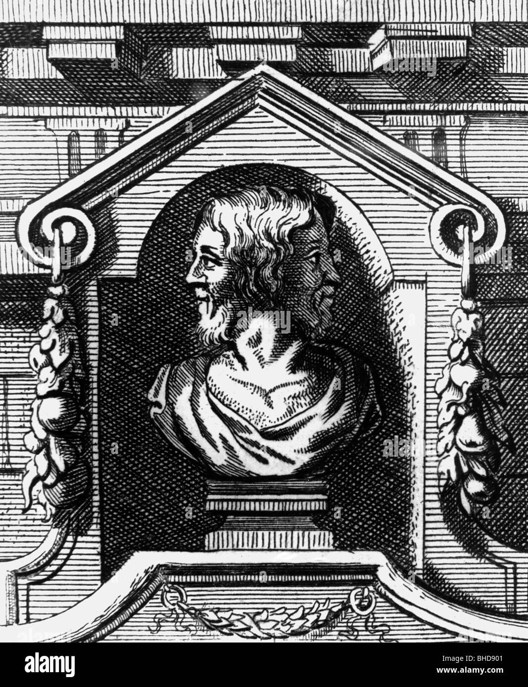 Janus, Roman god of gates, doors, doorways, beginnings and endings, copper engraving by Gasparone Bouttats, detail - Stock Image
