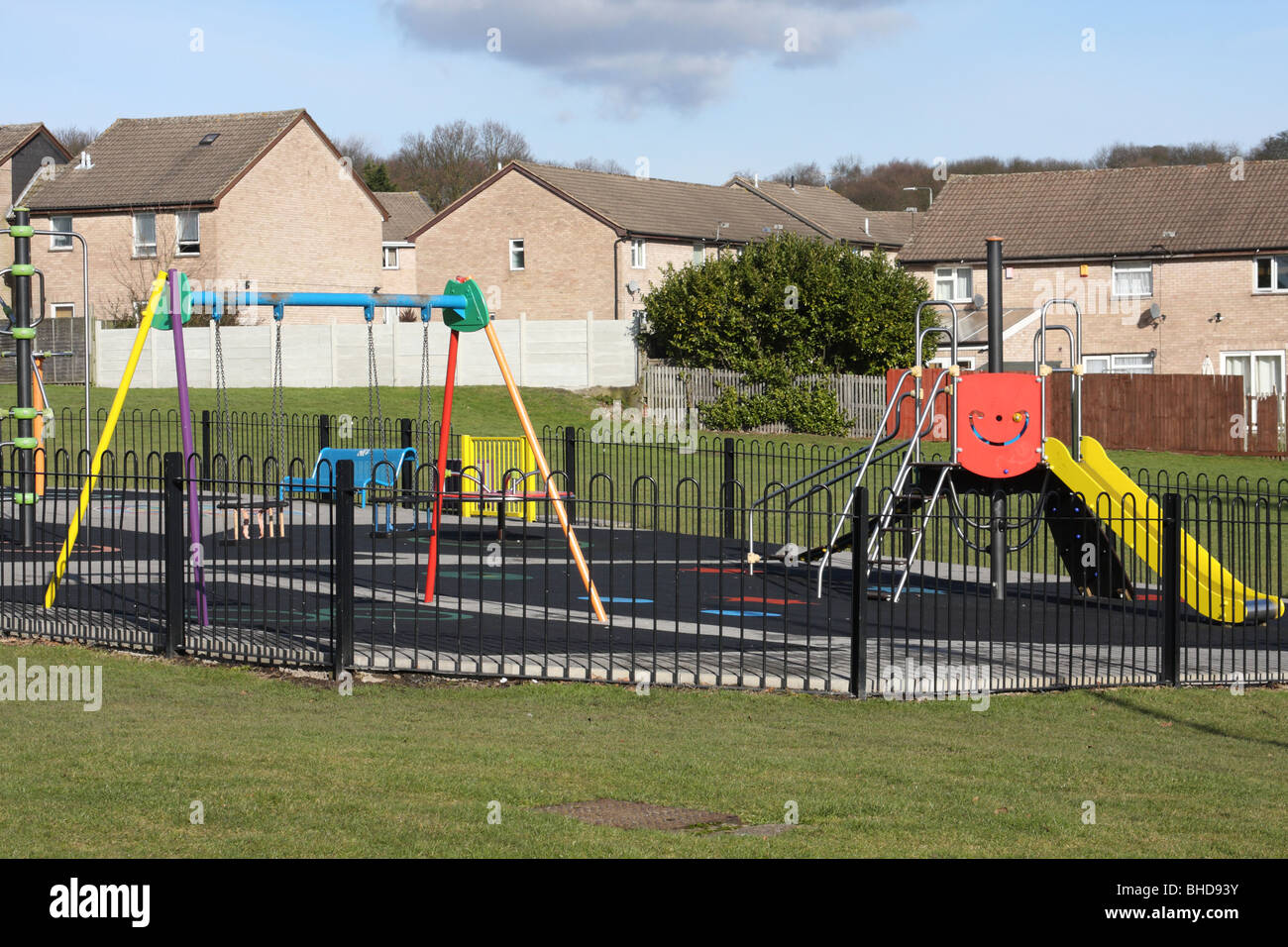 A children's play area on a U.K. housing estate. Stock Photo