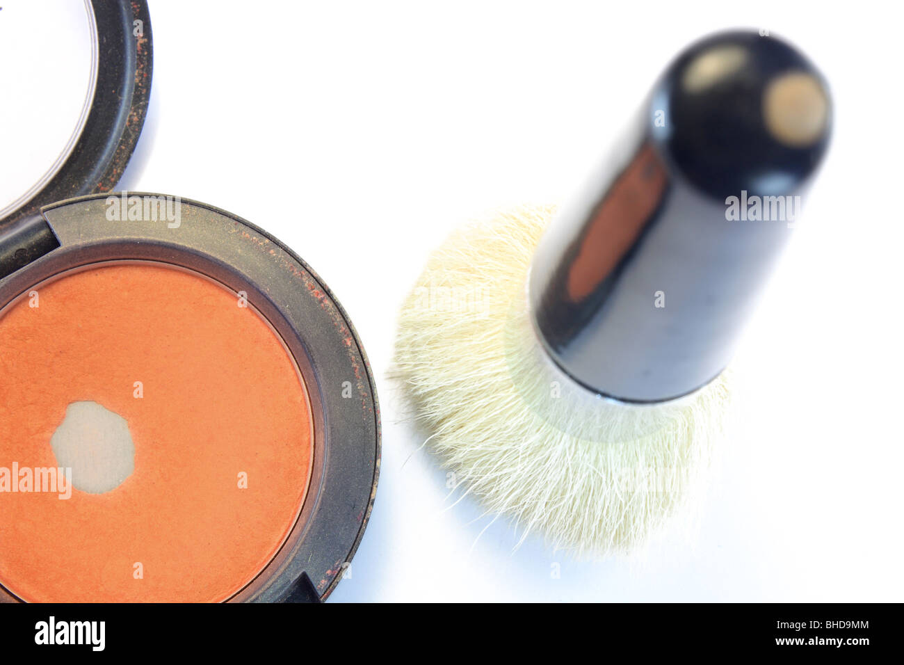 white brush and eyeshadow or powdery - Stock Image