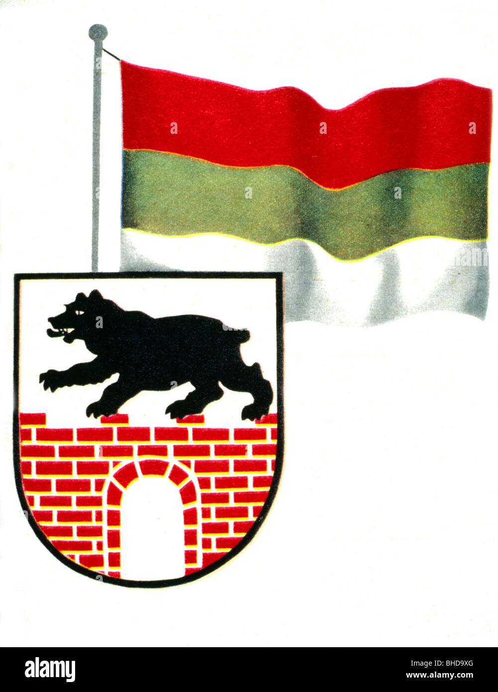 heraldry, coat of arms, Germany, flag and coat of arms of the state of Anhalt (since the Middle Ages), former GDR, - Stock Image