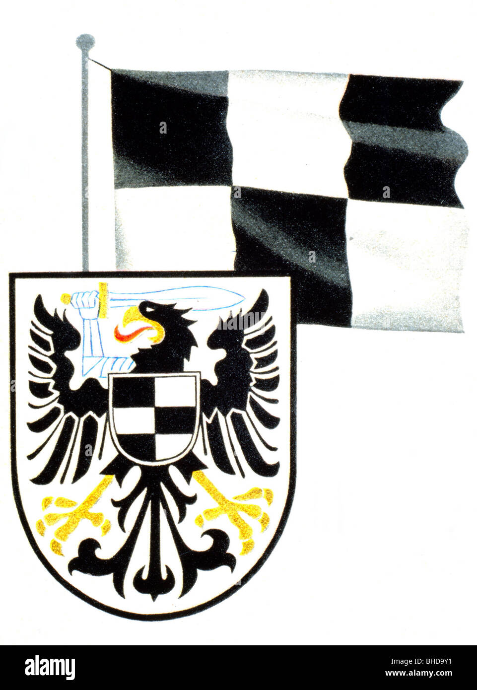 heraldry, coat of arms, Germany, Prussia, border province of Posen-West Prussia 1922 - 1945, flag and coat of arms, - Stock Image
