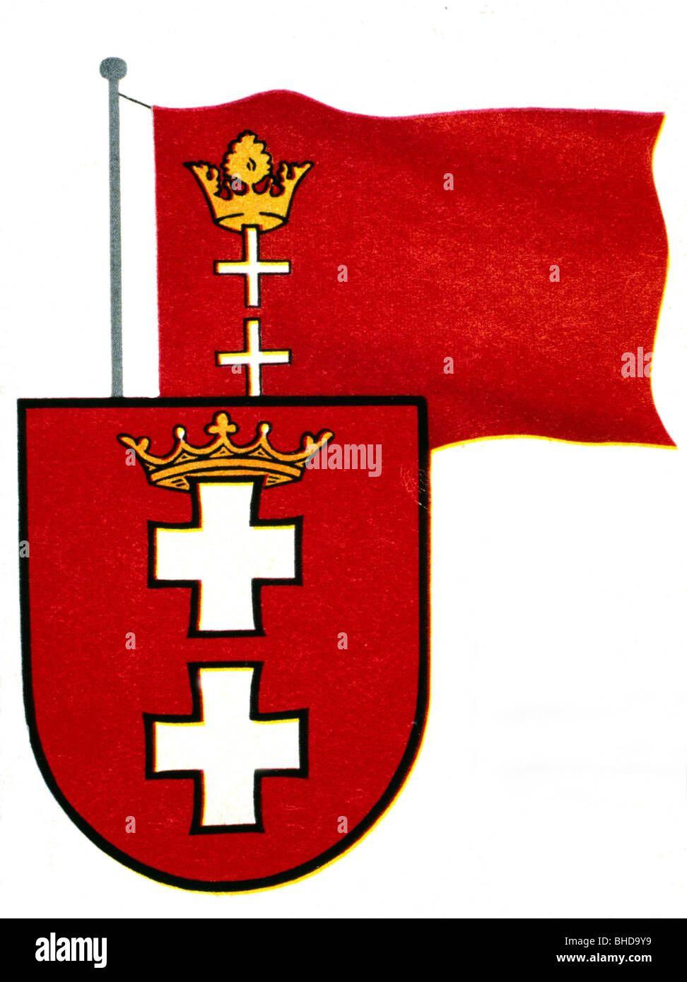 heraldry, coat of arms, Germany, Free City of Danzig, coat of arms and flag until 1945, Additional-Rights-Clearances - Stock Image