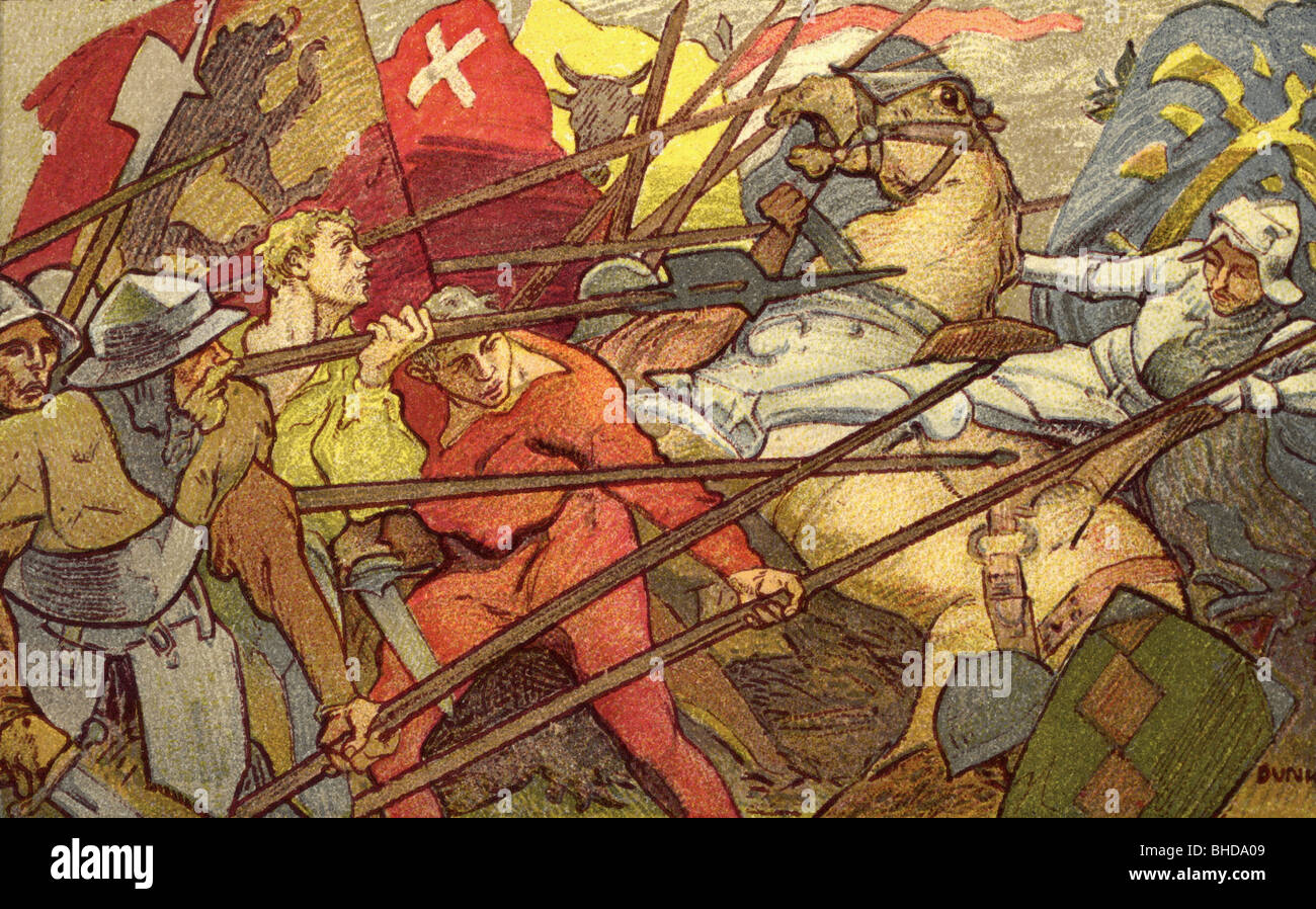 Sempach War 1385 - 1386, Battle of Sempach, 9.7.1386, victory of the Swiss  confederates over the army of Leopold III of Austria, colour lithograph of  Louis ...