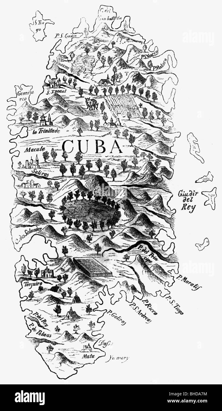 cartography, maps, America, Island of Cuba, copper engraving, 16th century, Caribbean, Greater Antilles, map, historic, Stock Photo