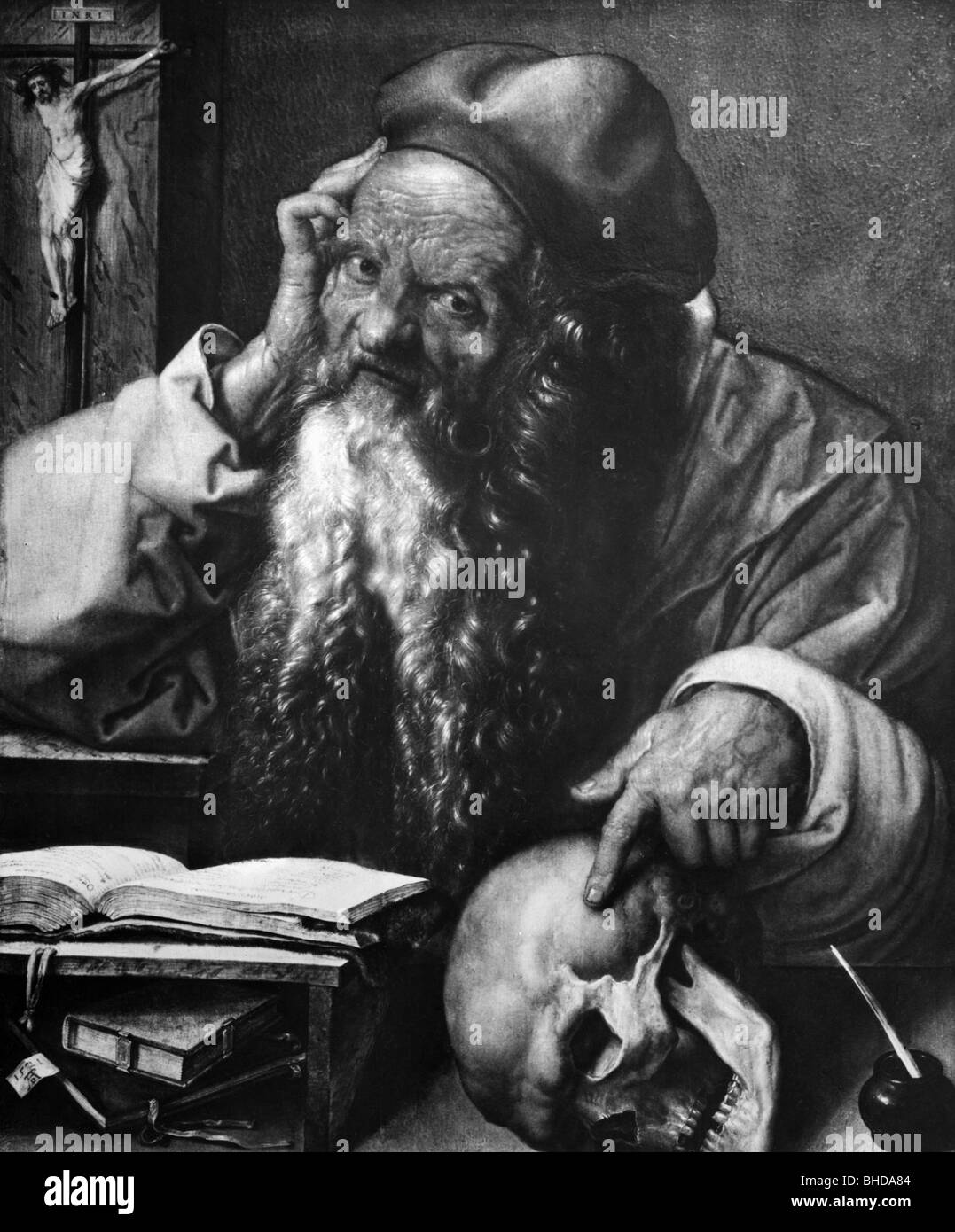 Jerome, 347 - 30.9.420, Roman scholar and theologican, saint, painting by Albrecht Duerer, Artist's Copyright has Stock Photo