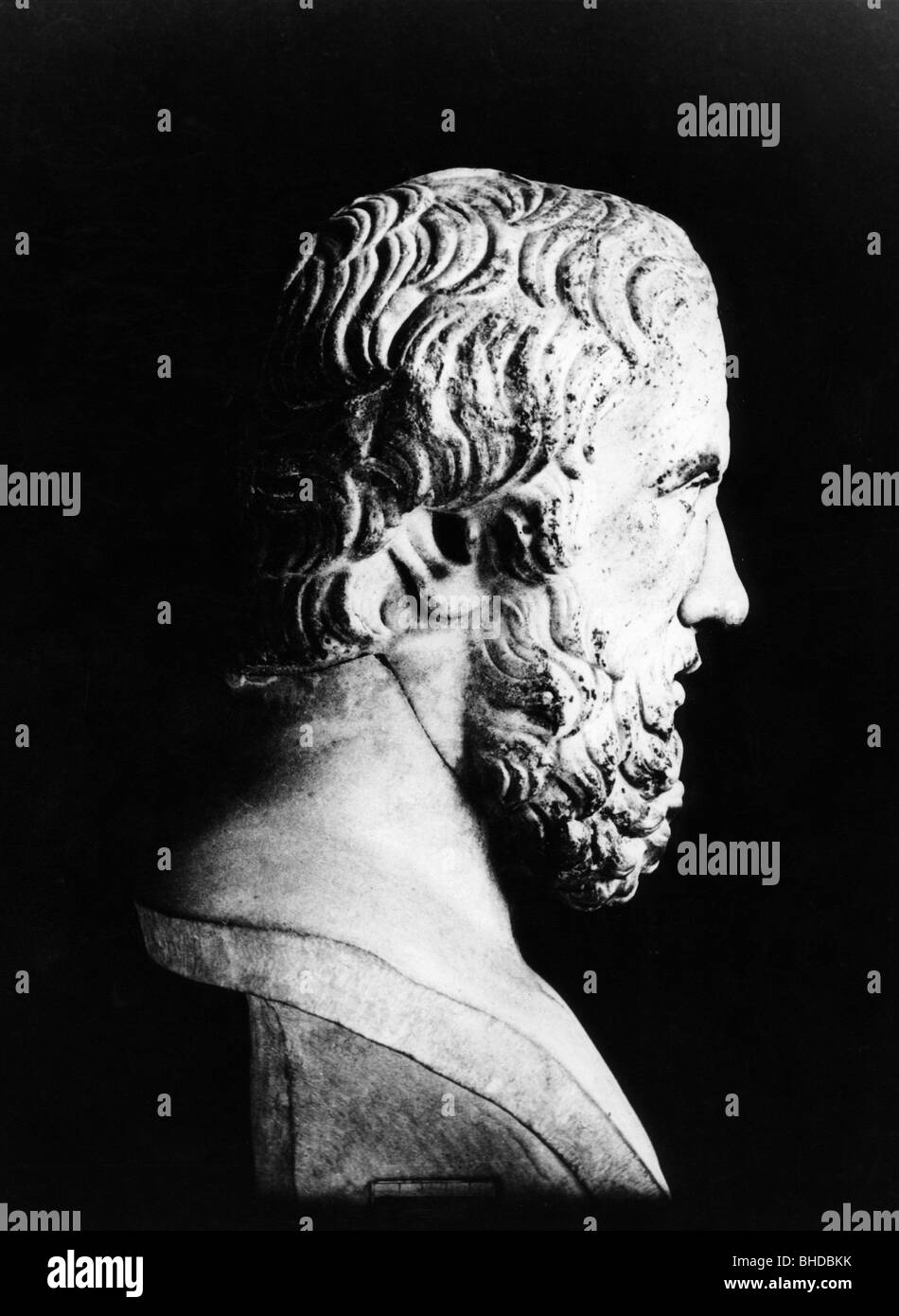 Herodotus, 484 BC - 425 BC, Greek scholar, historian, portrait, marble bust, Berlin, Additional-Rights-Clearances - Stock Image