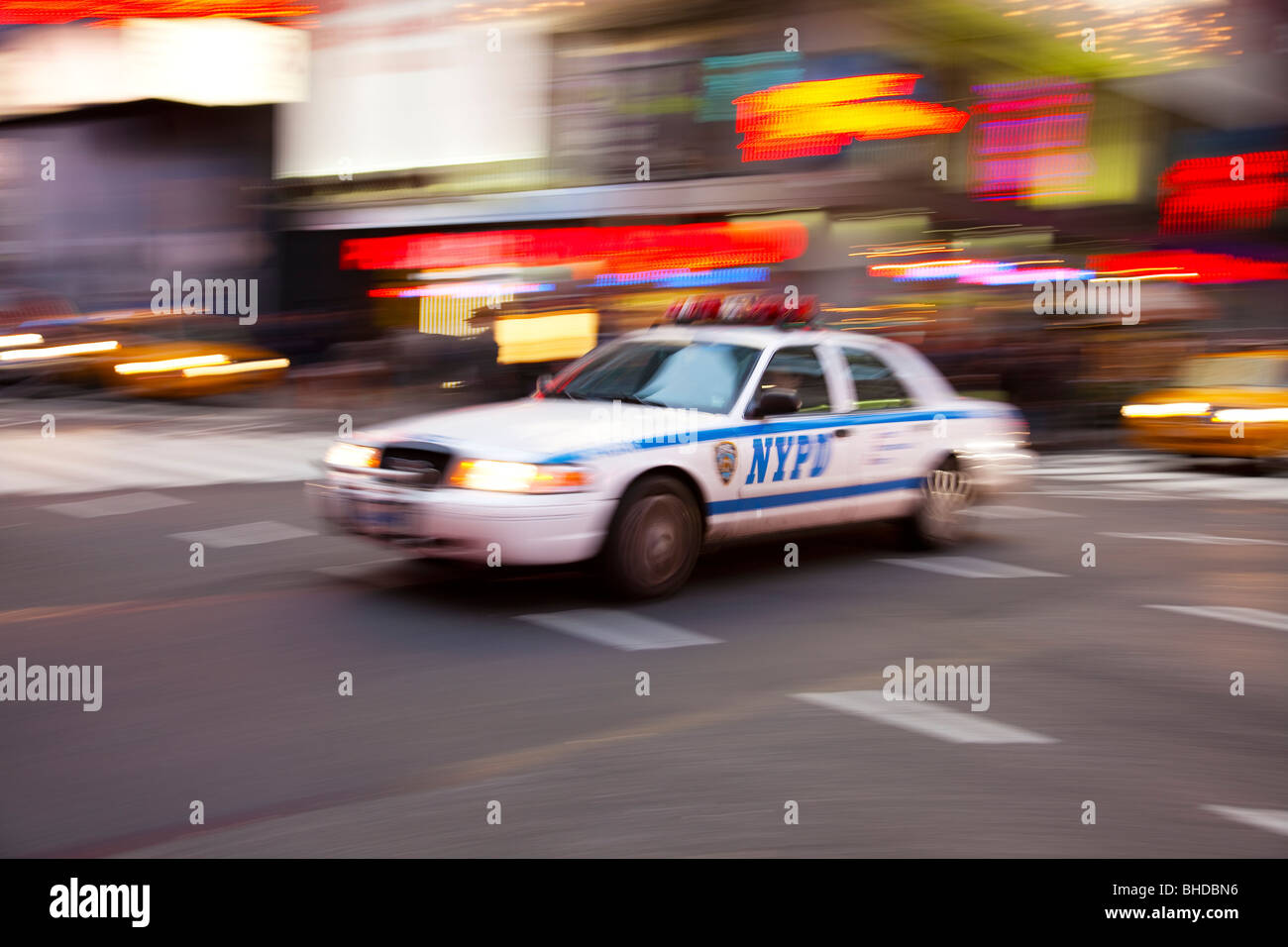 New York Police car in Times Square Stock Photo
