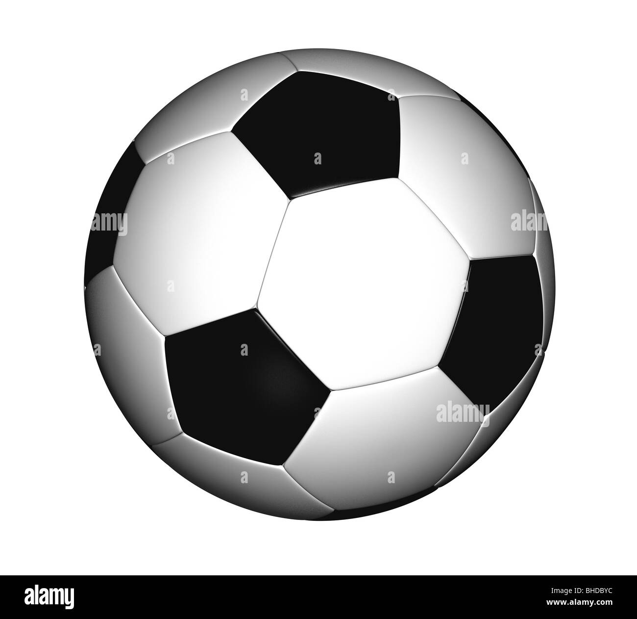 black and white soccer ball on white separated - Stock Image