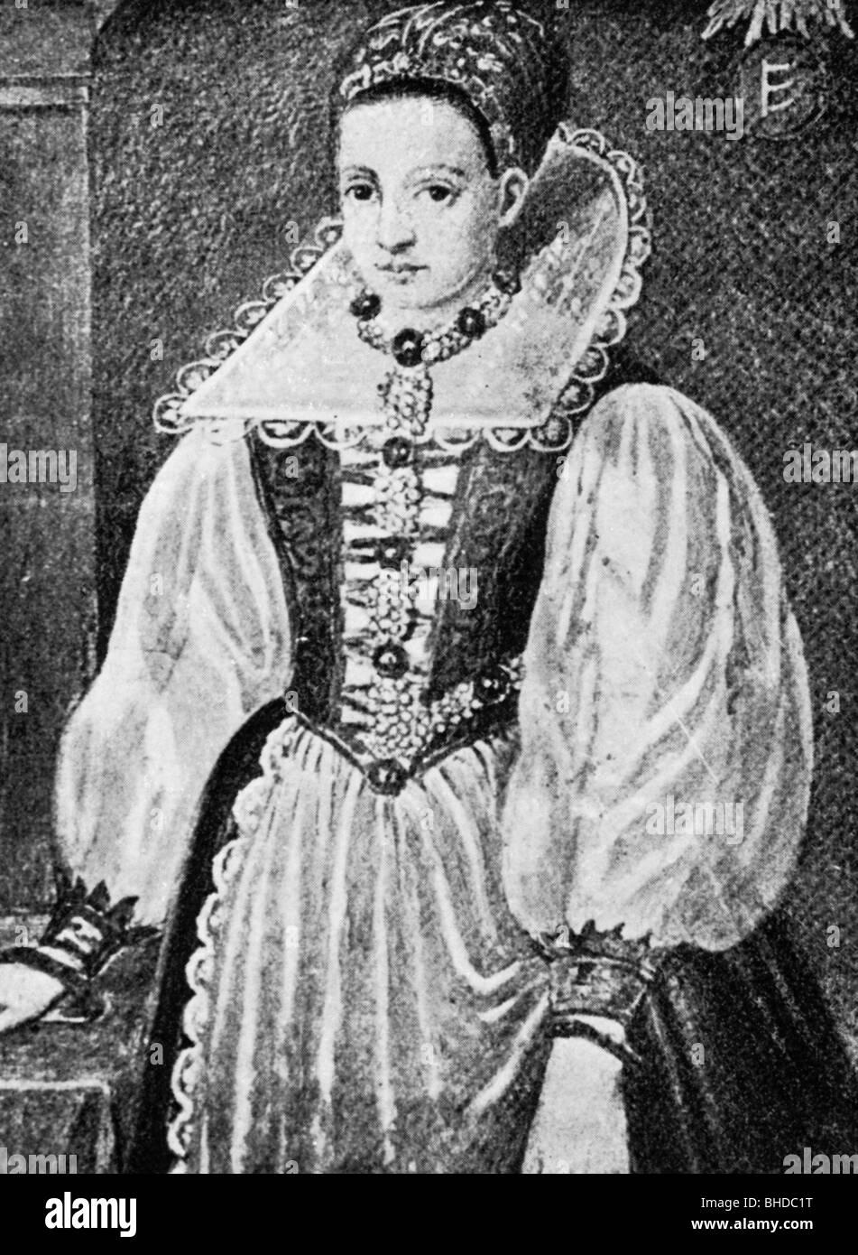 "Bathory, Elisabeth, 7.8.1560 - 21.8.1614, countess Nadasdy, ""Blood Countess"", Hungarian serial killer, half length, Stock Photo"