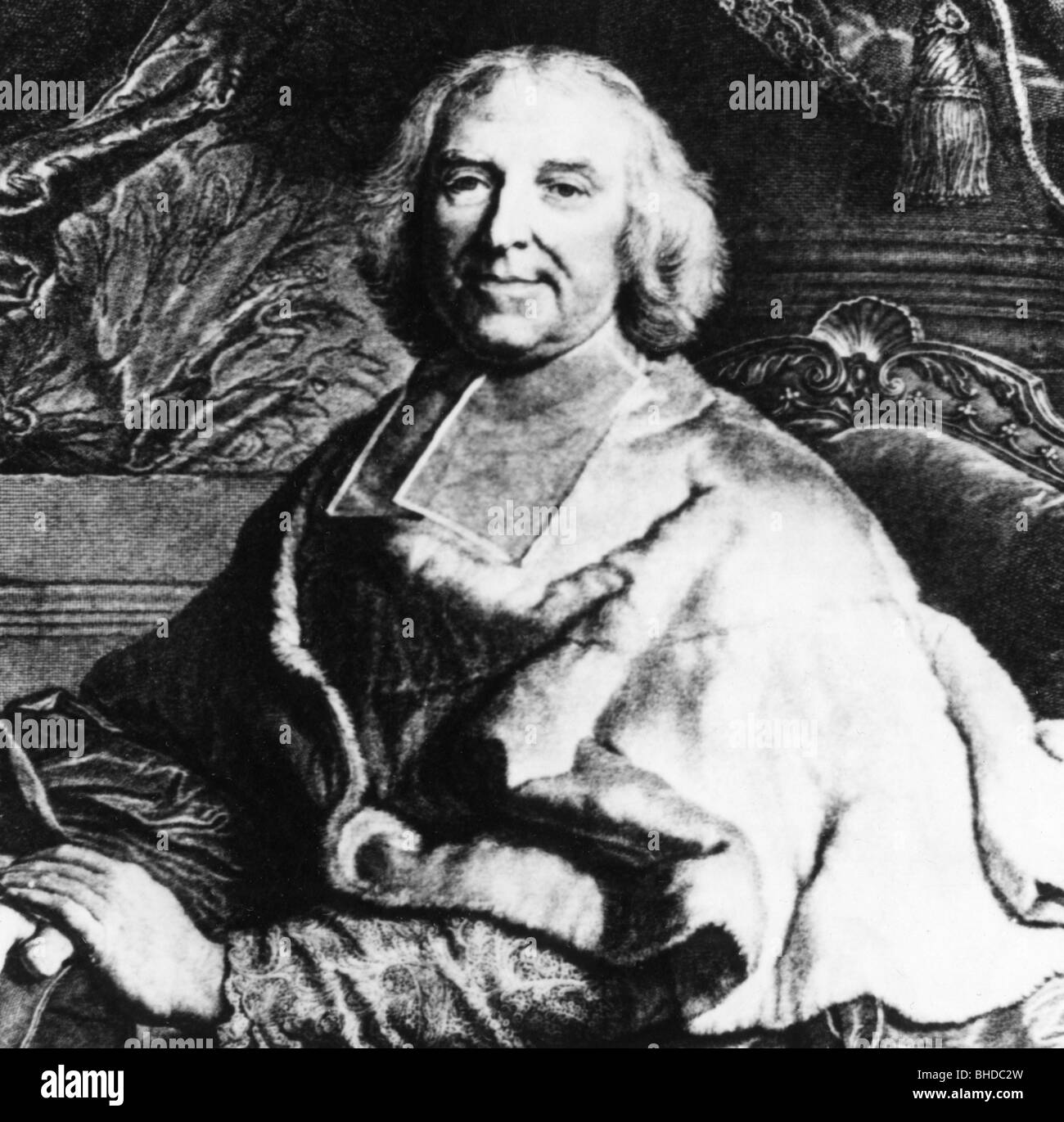 Fleury, Andre-Hercule de, 22.6.1653 - 29.1.1743, French cardinal, statesman, half length, side view, wearing cardinal`s - Stock Image