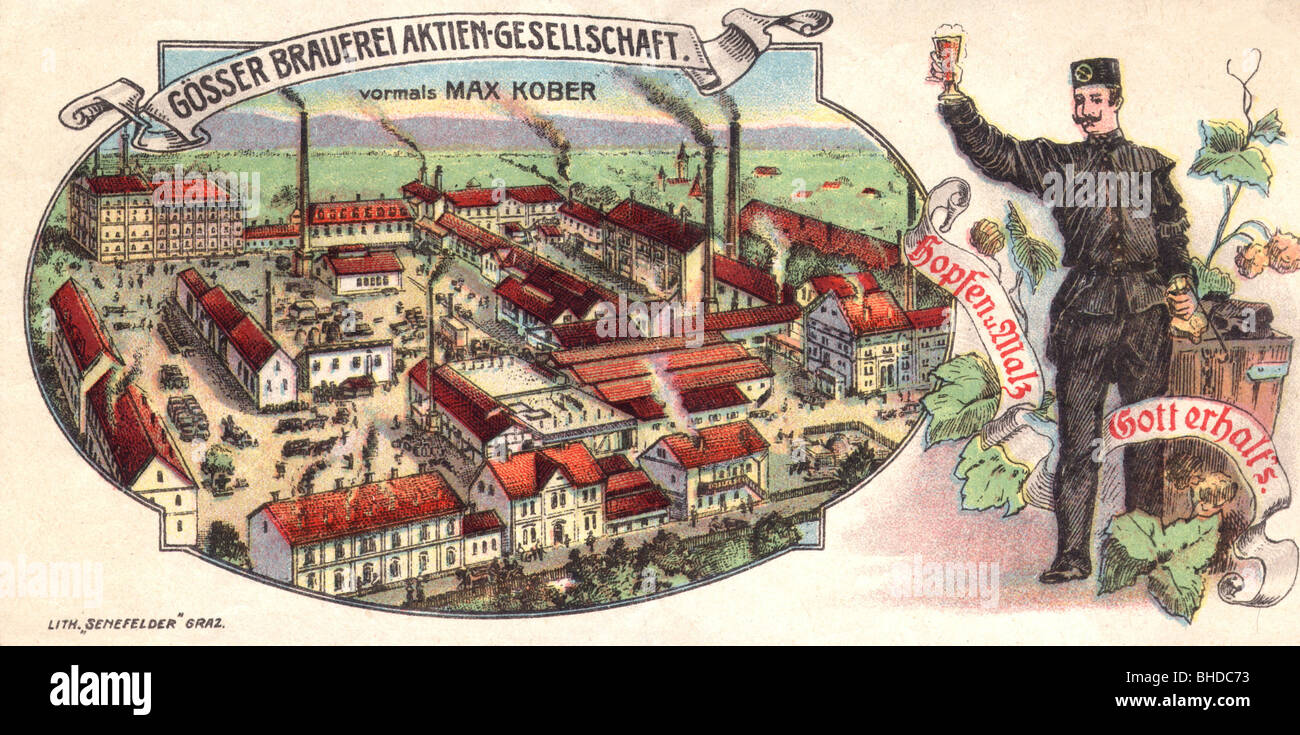 alcohol, beer, brewery, Austria, advertising of the Gösser Brewery AG, coloured, wood engraving, 19th century, - Stock Image