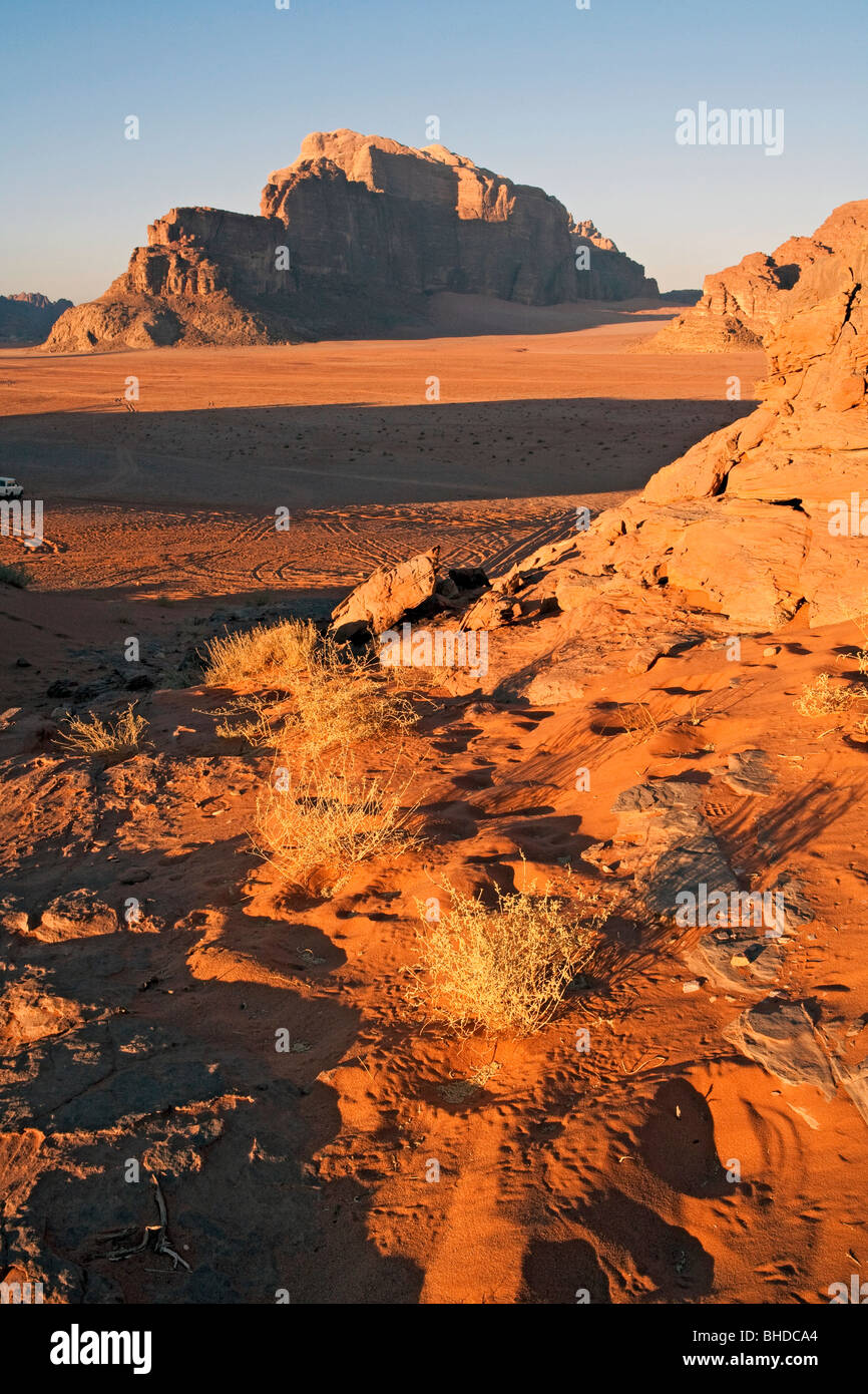 Jordan sunset Mount Rum in Wadi Rum and the valley of the moon - Stock Image