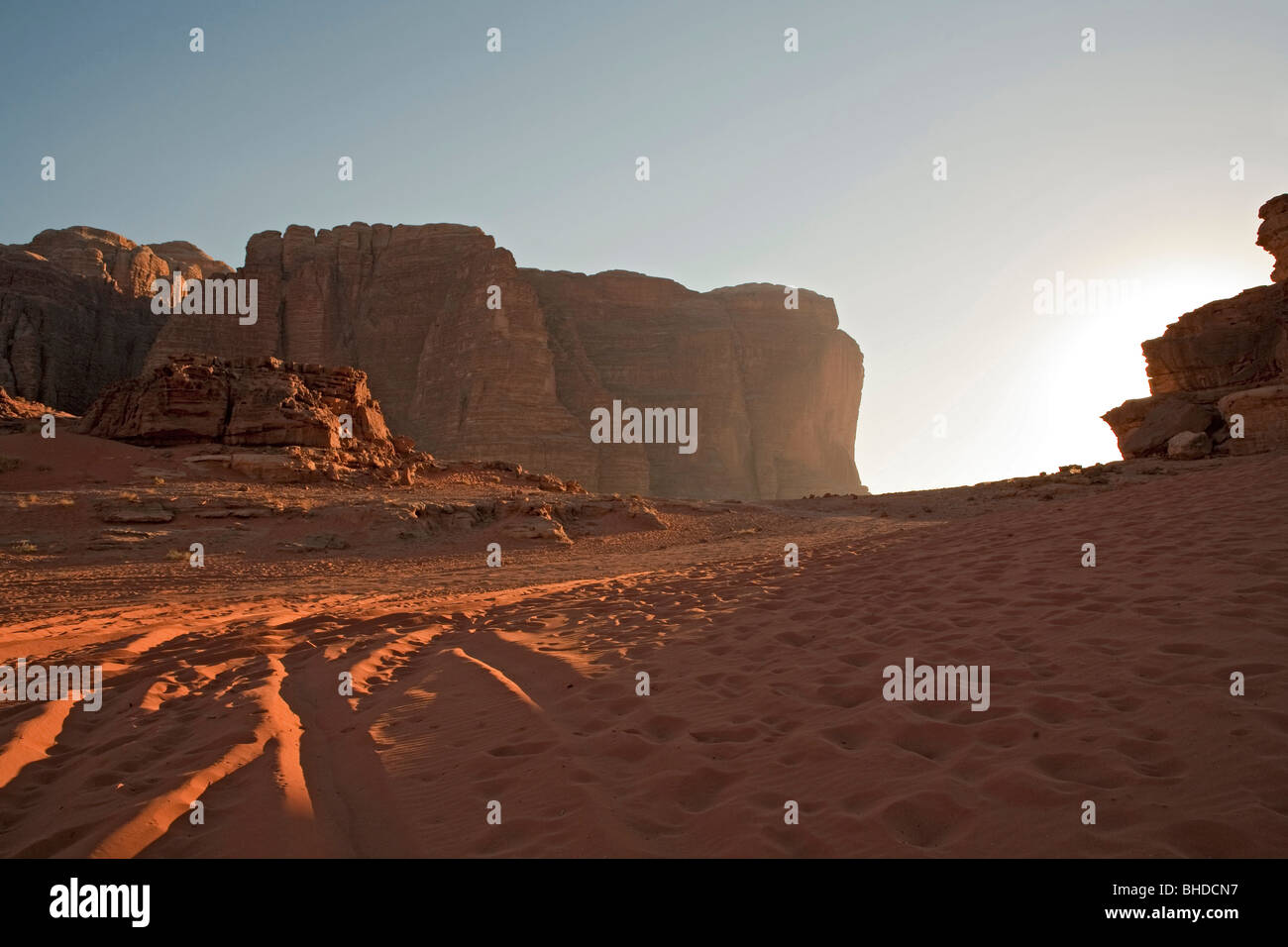 Jordan sunset Wadi Rum and the valley of the moon - Stock Image