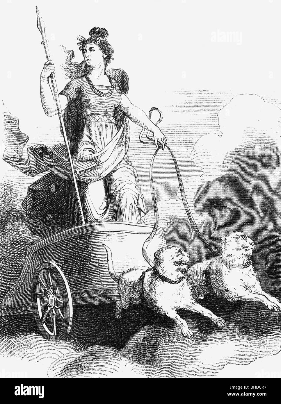 Freyja Germanic Goddess Of Love And Fertility On A Chariot
