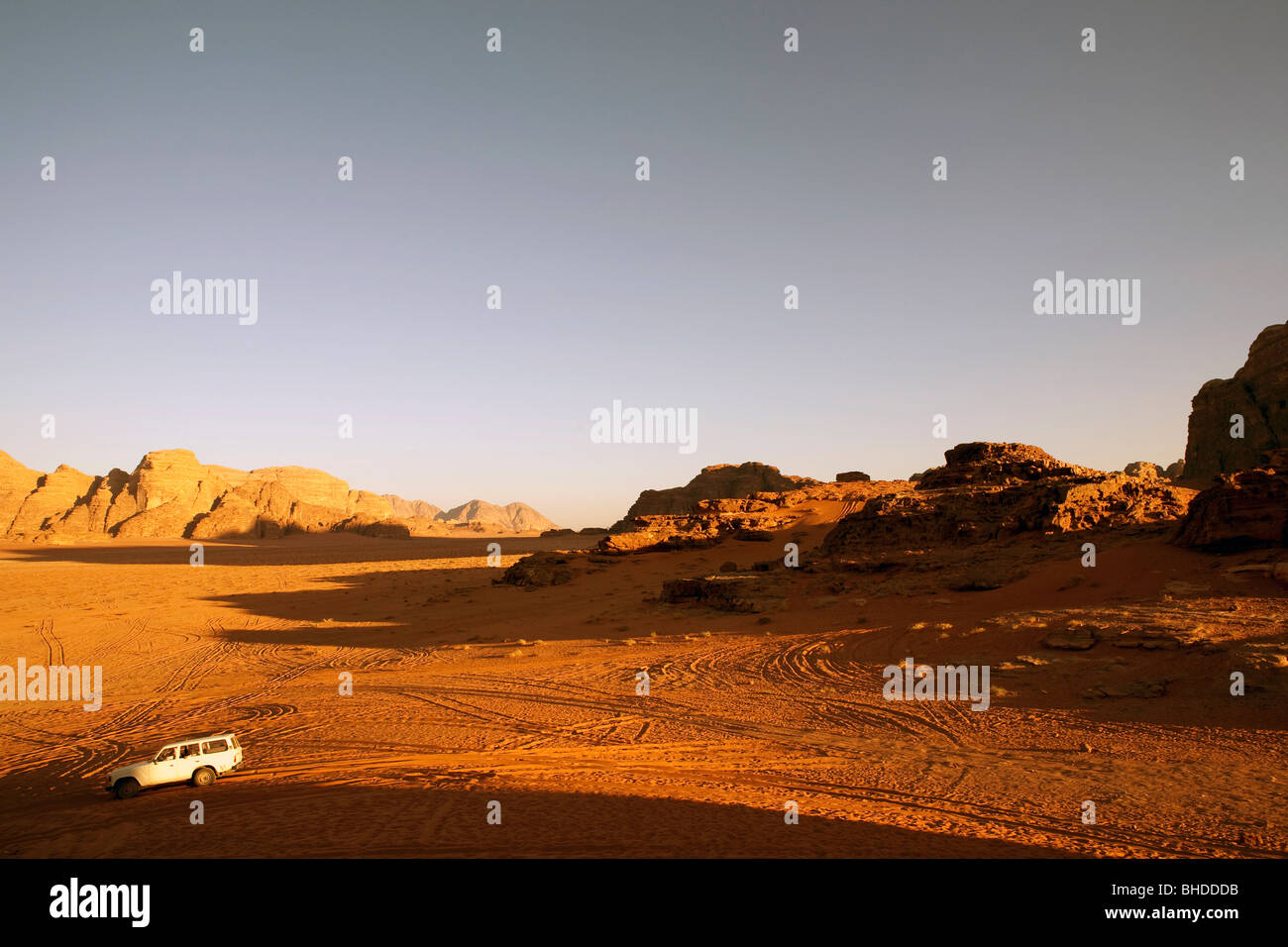 Jordan sunset in Wadi Rum and the valley of the moon - Stock Image