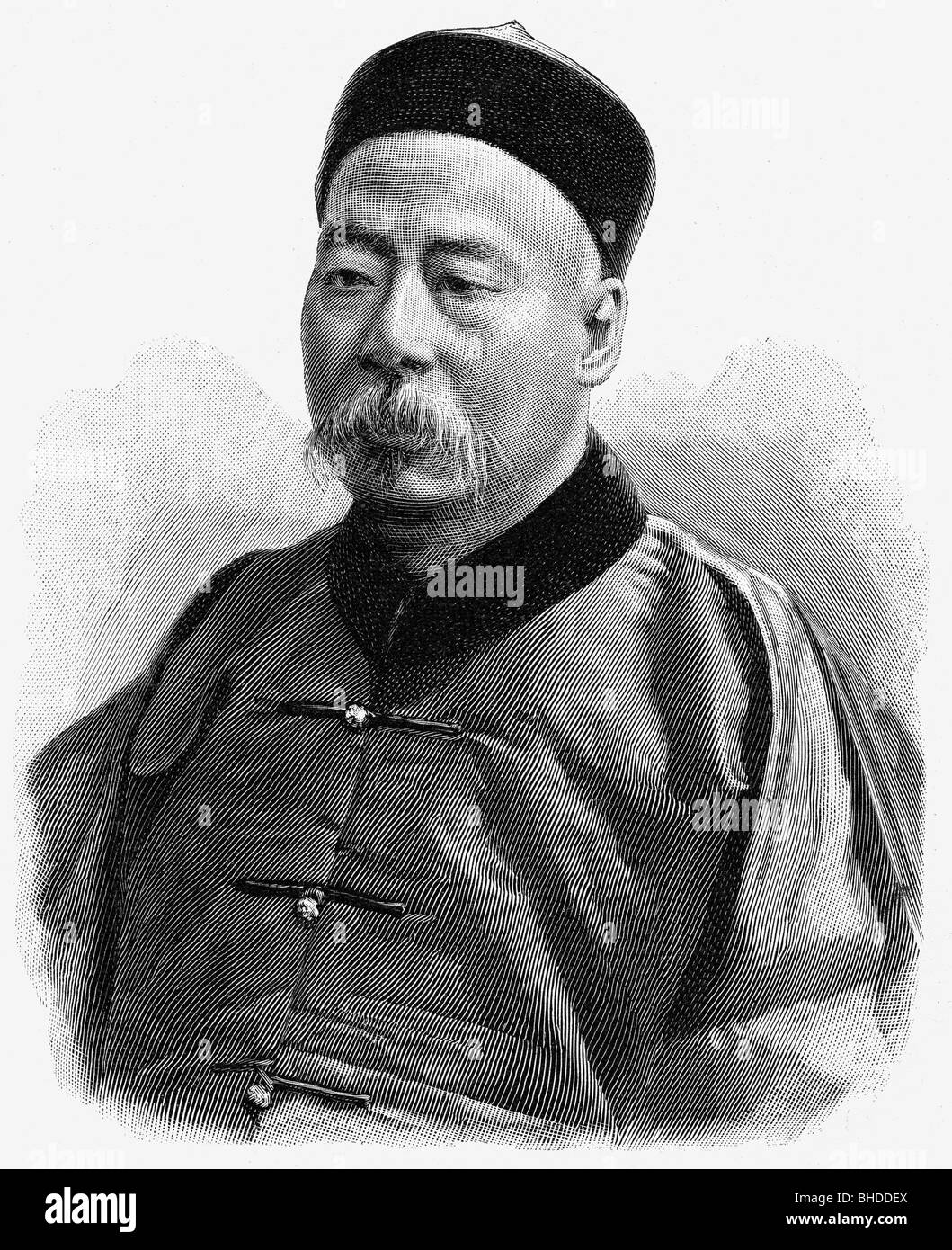 Huan, Lii Hai, second half of the 19th century, Chinese politician, envoy in Berlin, portrait, wood engraving, , - Stock Image