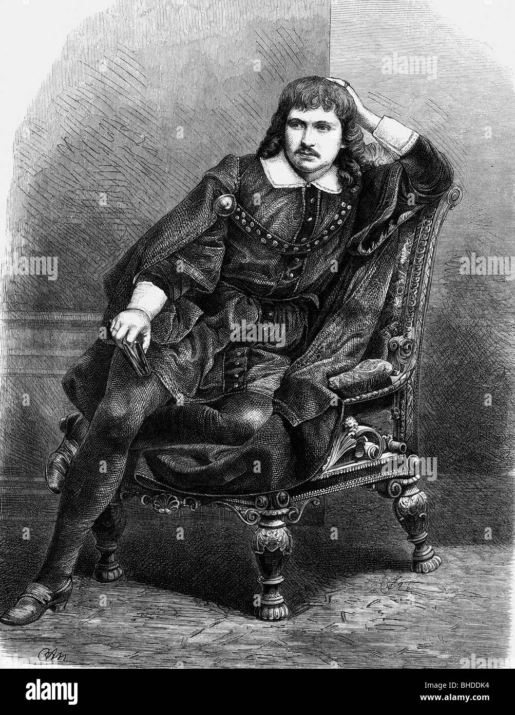 Friedmann, Siegwart, 1842 - 1916, German actor, half length, as 'Hamlet', sitting on armchair, wood engraving - Stock Image
