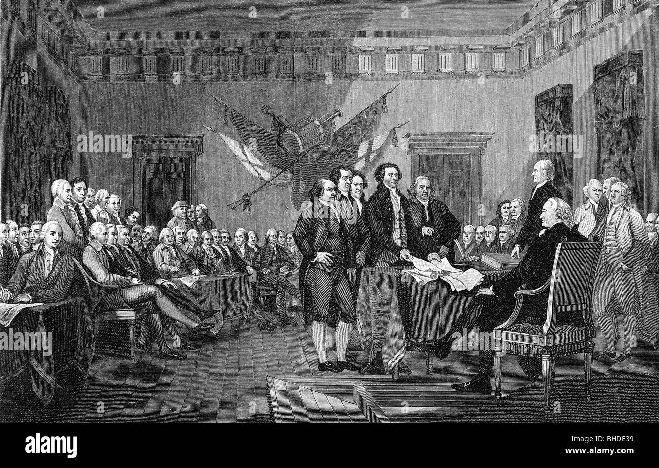 geography / travel, politics, American Revolutionary War 1775 - 1783, signing the Declaration of Independence, Philadelphia, - Stock Image