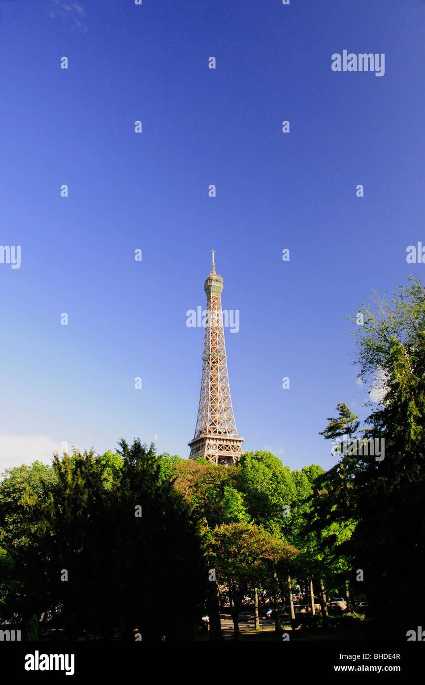 View of Eiffel Tower from Jardins du Trocadero, Paris, France - Stock Image