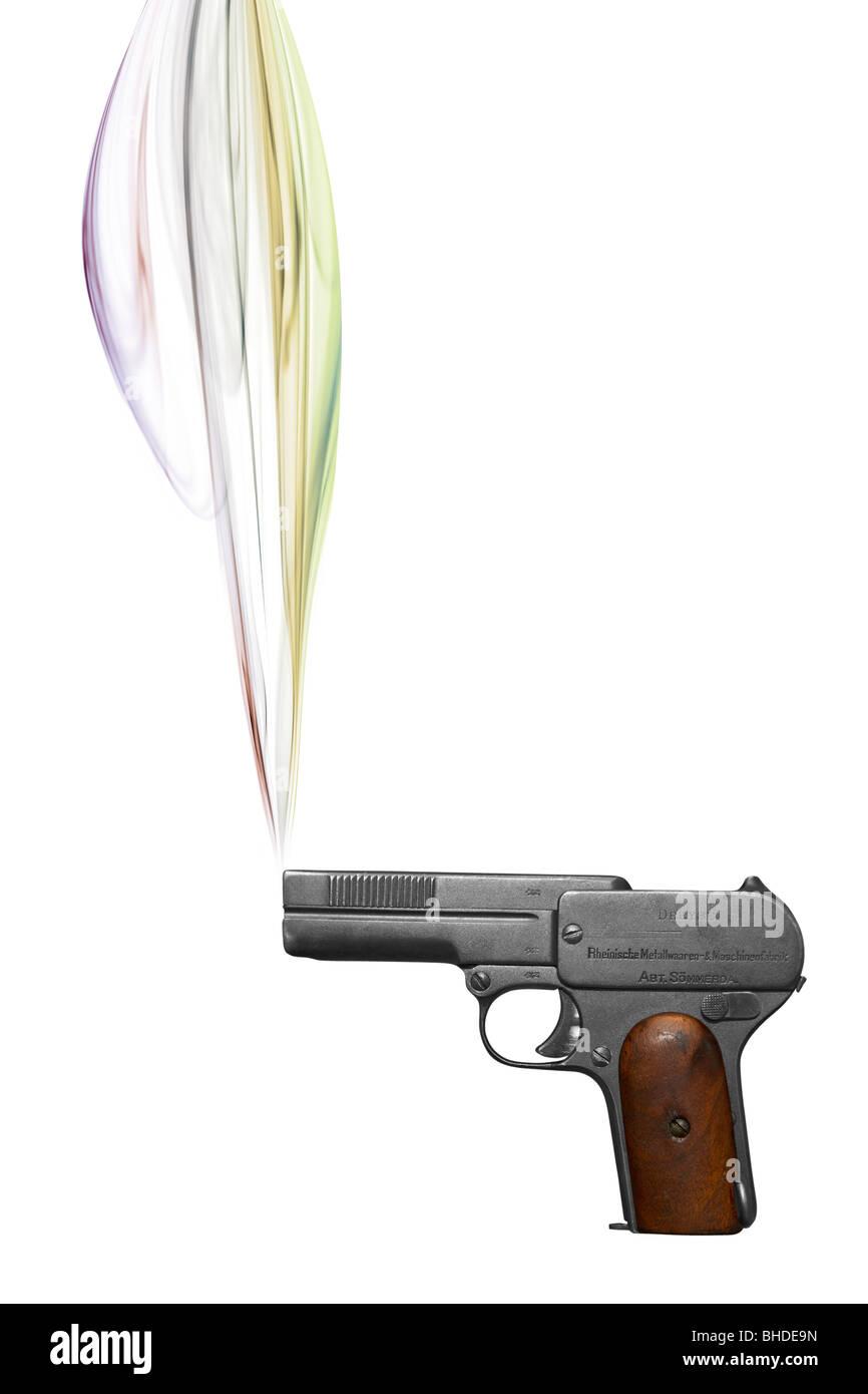 Smoking handgun - Stock Image