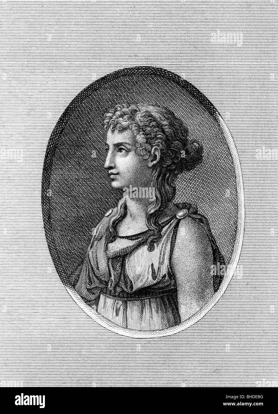 Sappho, Ancient Greek lyric poet, circa 620 BC - circa 570 BC, portrait, copper engraving, circa 18th century, Artist's - Stock Image