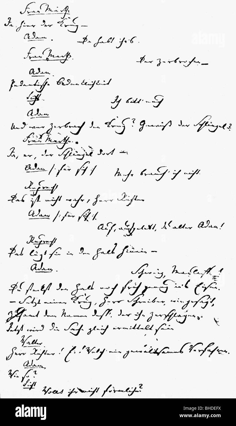 Kleist, Heinrich von, 18.10.1777 - 21.11.1811, German author / writer (poet), stage play 'The Broken Jug', - Stock Image