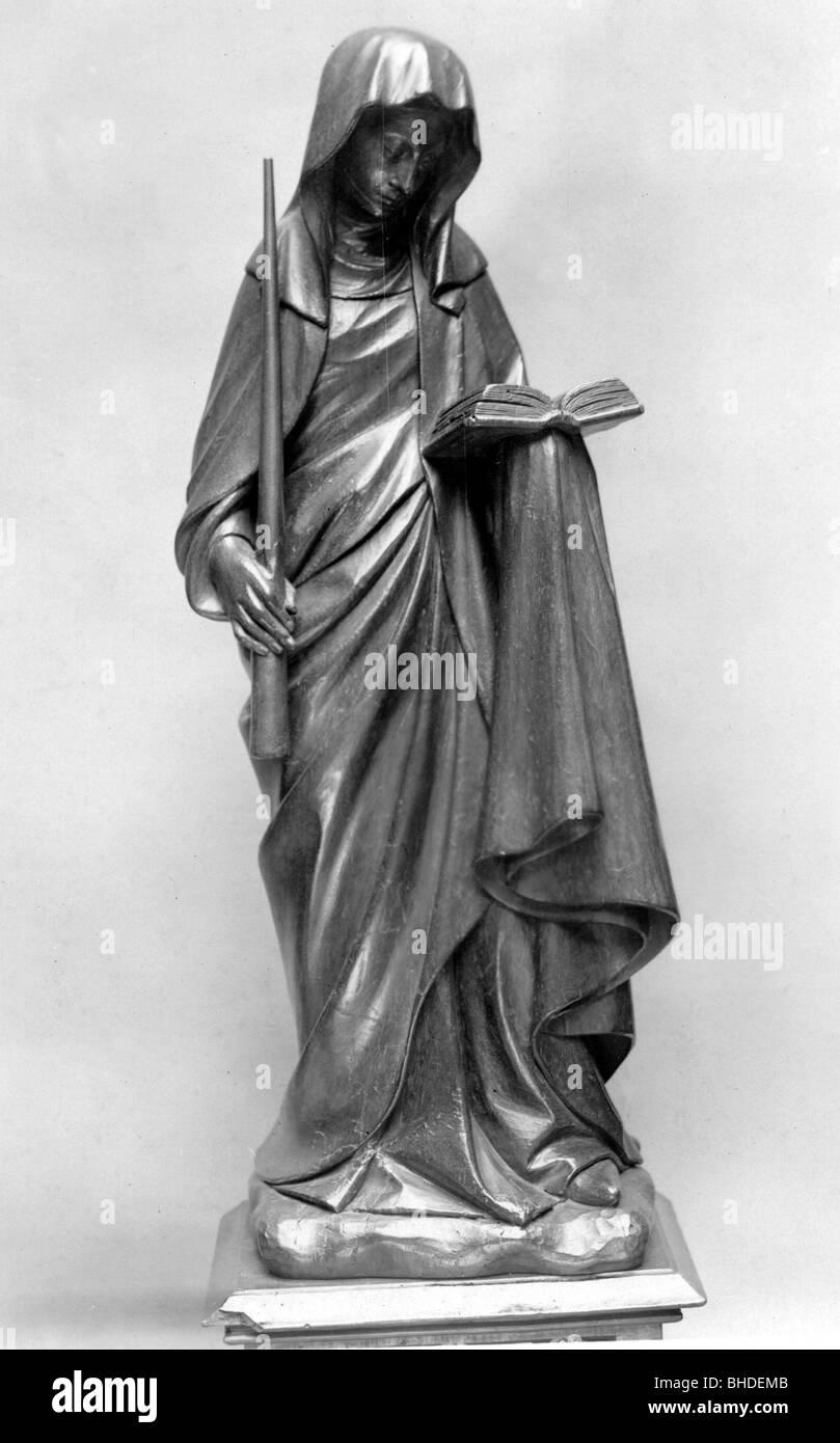 Genevieve, patron saint of Paris, circa 422 - circa 502, full length, statue, France, circa 15th century, Cluny, Stock Photo