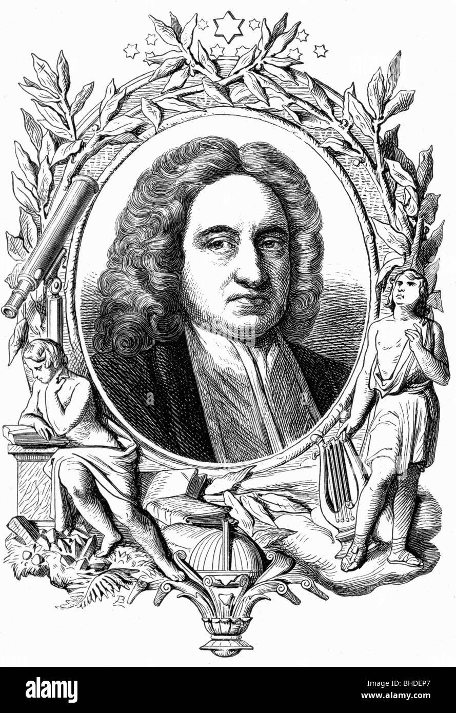 Halley, Edmund, 29.10.1656 - 14.1.1742, English astronomer, portrait, allegorical illustration, 19th century, Additional - Stock Image