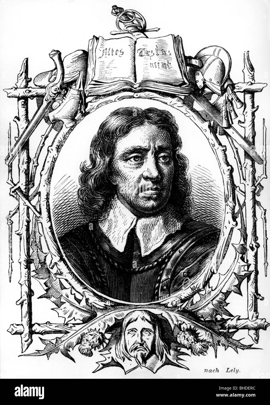 Cromwell, Oliver, 25.4.1599 - 3.9.1658, English military, leader, politician, portrait, engraving by Lely, Additional - Stock Image