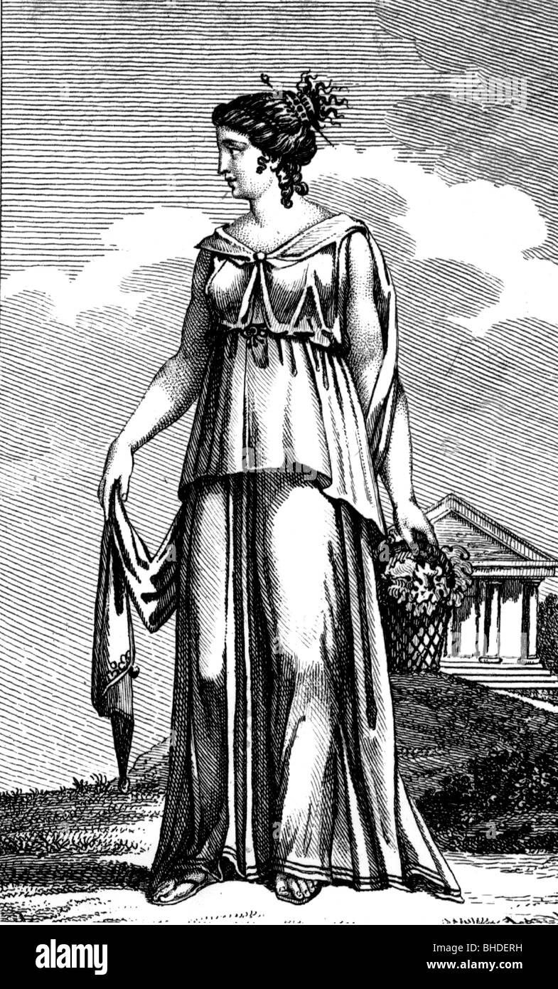 fashion, ancient world, Greece, woman from the Kythira Island, copper engraving, circa 1800,18th century, 19th century, - Stock Image