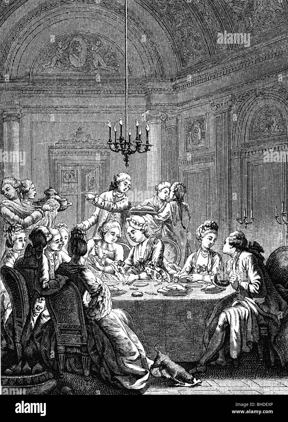 festivity, ball and society, dinner, France, 18th century, engraving after Masquelier, historic, historical, candelier, - Stock Image