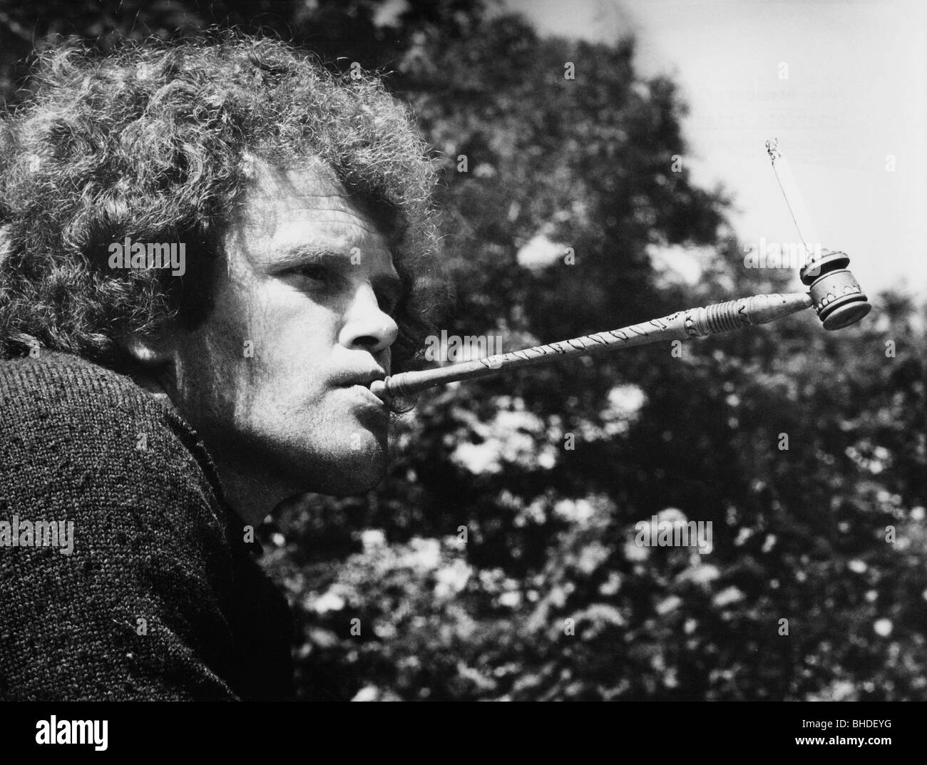 drug and dope, man with hash pipe, Munich, 1973, 20th century, 1970s, Germany, typical of the time, portrait, smoking, - Stock Image