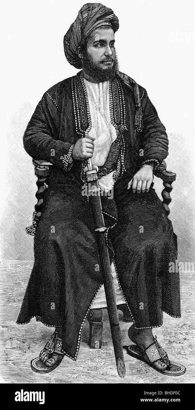 Khalid bin Barghash of Zanzibar, circa 1900, pretender to the throne, half length, wood engraving, sitting on chair, - Stock Image