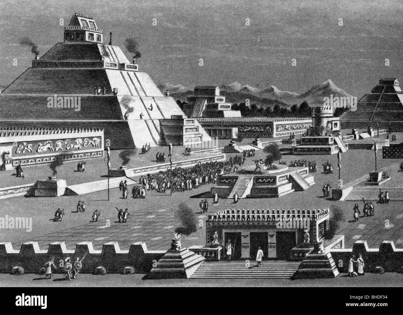 geography / travel, Mexico, Aztec Empire, Tenochtitlan, temple area of Quetzalcoatl, reconstruction, drawing, 19th - Stock Image