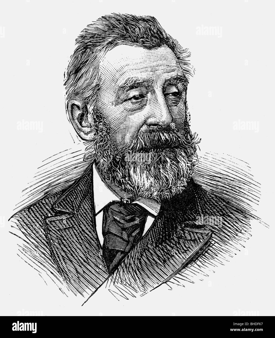 Harpignies, Henry, 28.7.1819 - 28.8.1916, French painter, portrait, wood engraving, Additional-Rights-Clearances - Stock Image
