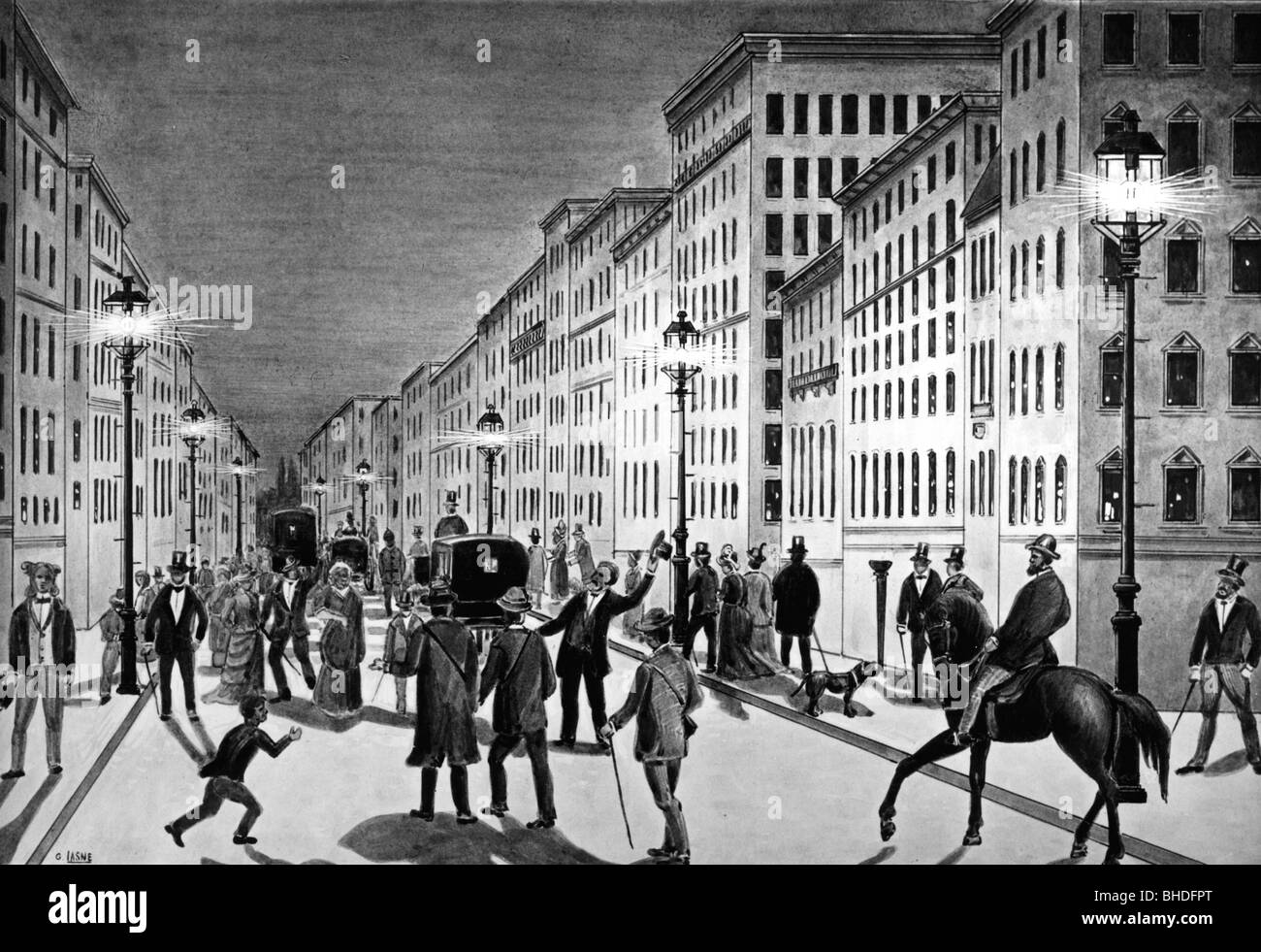 Energy, Electricity, Street Light, First Electric Lighting, New York, USA,  Circa 1882, 19th Century, Historic, Historical, Publi