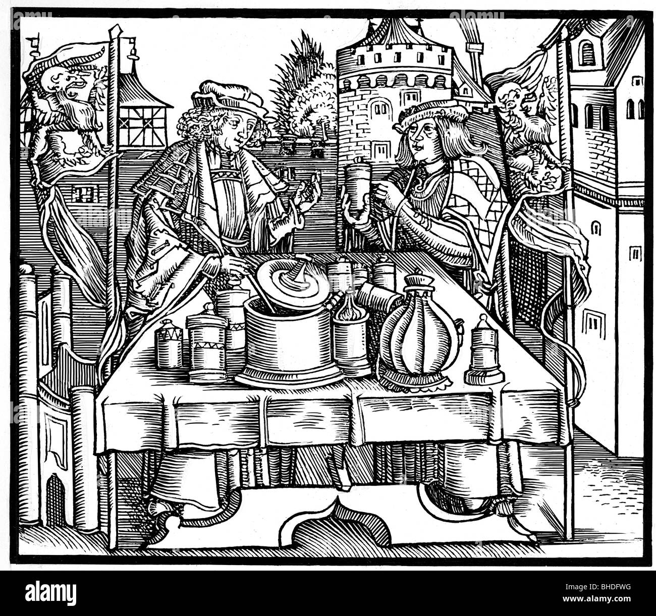 science, alchemy, two alchemists at work, woodcut, 1500, Additional-Rights-Clearances-NA - Stock Image