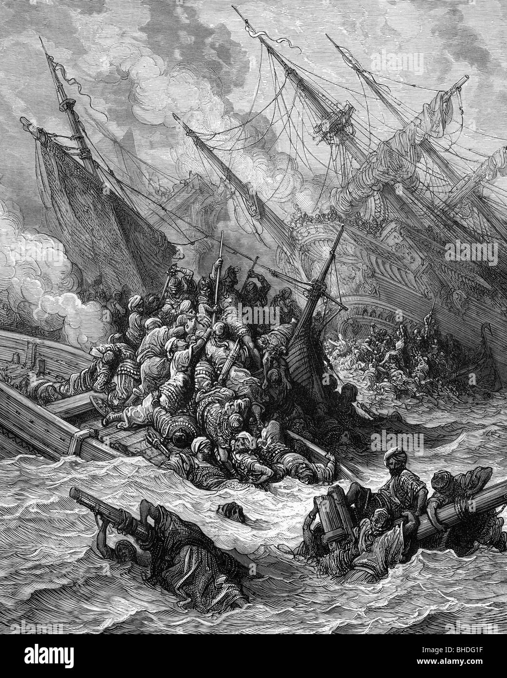 Fifth Venetian Turkish War 1570 - 1573, Battle of Lepanto, 7.10.1571, between of the naval forces of the Holy League under Don Juan de Austria and the Ottoman Empire under Ali Pasha, scene, lithograph by Gustav Doré, 1877, Greece, Nafpaktos, Naupactus, Gulf of Patras, navigation, fleet, fleets, navy, naval war, naval wars, armed forces, naval forces, 16th century, sixteenth century, the 1500s, graphic, graphics, decay, republic Venice, Kingdom of Spain, Papal States, Ottomans, Turks, Great Turkish War, Ottoman Wars, shipwrecks, abandoned shipwreck, fig, Artist's Copyright has not to be cleared Stock Photo